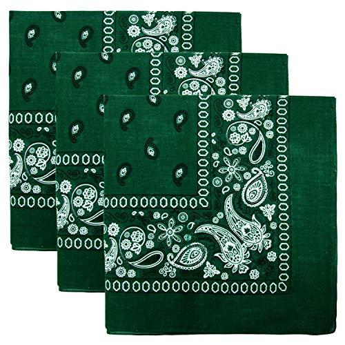 3 PK Cowboy Bandanas 100% Cotton 22 x 22 inch - Hunter -