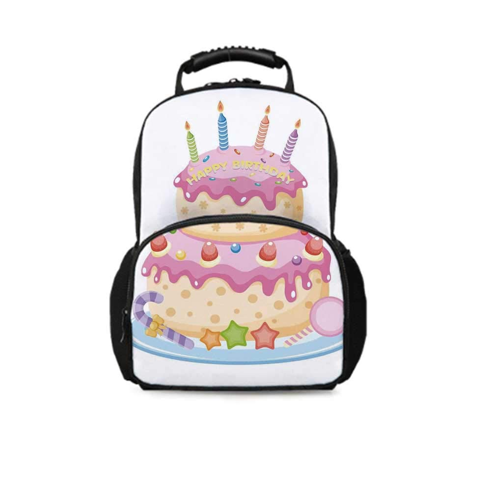 Birthday Decorations for Kids Leisure School Bag,Pastel Colored Birthday Party Cake with Candles and Candies for School Travel,One_Size