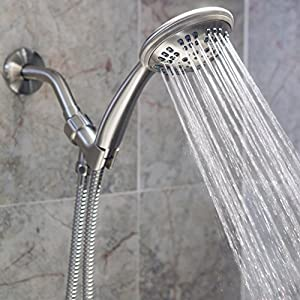 6 Function Handheld Shower Head Kit - High Pressure, Removable Hand Held Showerhead With Hose & Mount And Adjustable Rainfall Spray - Brushed Nickel
