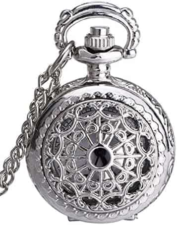 Mudder Hollow Silver Pocket Watch for Women