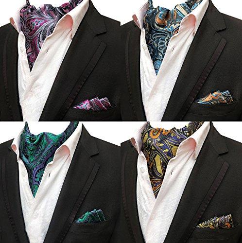 (Mens 4 Pcs Luxury Floral Cravat Ascot Scarf Ties Neckties Pocket Square Set of 4)