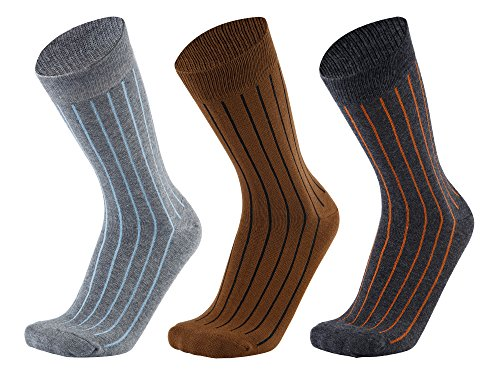 Mens Crew Casual Dress Socks – Cotton Colorful Stripe Patterned 3 Packs