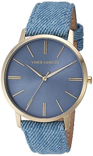 Vince Camuto Women's VC/5322LBLD Gold-Tone and Light Blue Denim Strap Watch ()
