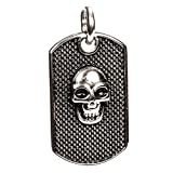 Inox Men's Black Stainless Steel Skull Dog Tag Pendant Necklace w/ Black Cord