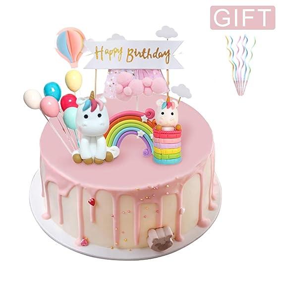 Coolba Decoracion Tarta Unicornio, Decoración Tarta Cumpleaños ,Unicorn Cake Toppers Kit Torta de Arcoiris, para la Fiesta de la Fiesta de Bienvenida ...