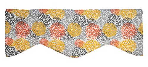 Window Treatments Valance Curtains Kitchen Window Valances or Living Room Modern Floral Valance Yellow, Orange and Gray Curtains (Valances Formal Window)