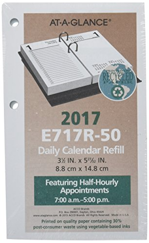 "AT-A-GLANCE Daily Desk Calendar 2017 Refill, January - December, 3-1/2 x 6"" (E717R50)"