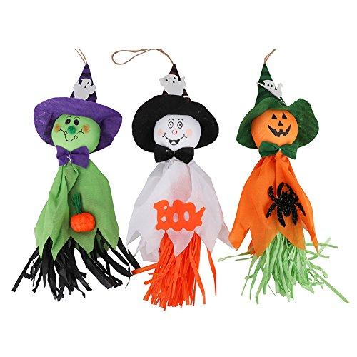 Bidlsbs Pack of 3 Halloween Host Hat Orange Green And White Pumpkins Hanging Decoration - Ideal For Preschool Mall Party And Door - Gardens Mall Jupiter