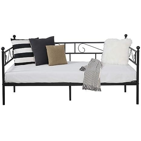 Aingoo sofá Cama Armadura de Cama con tablillas Cama de día Cama de Invitados 90 x 190 CM (Negro)