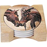 CounterArt Horse Kiss Design Round Absorbent Coasters in Wooden Holder, Set of 4
