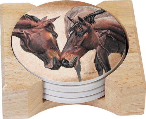 (CounterArt Horse Kiss Design Round Absorbent Coasters in Wooden Holder, Set of 4)