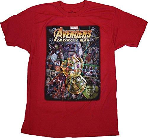 Avengers: Infinity War Adult Cardinal Red Fitted Jersey T-Shirt Tee - Adult Cardinal Red T-shirt