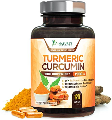 Turmeric Curcumin Max Potency 95% Curcuminoids 1950mg with Bioperine Black Pepper for Best Absorption, Anti-Inflammatory Joint Relief, Turmeric Supplement Pills by Natures Nutrition – 120 Capsules