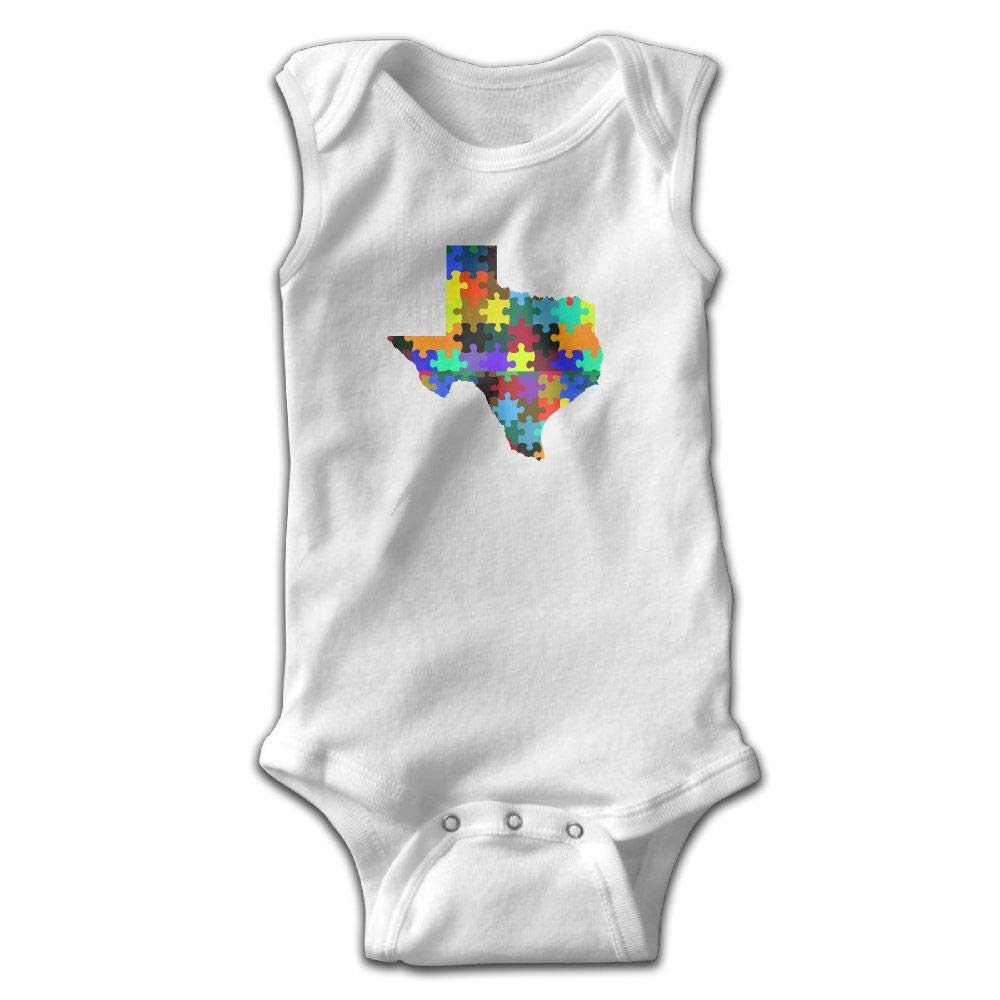 MMSSsJQ6 Texas TX Puzzle Pieces Map Infant Baby Boys Girls Crawling Clothes Sleeveless Rompers Romper Jumpsuit White