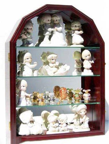 Arch Mirror Door Cabinet - Mahogany Arch Shape Wall Curio Cabinet Display Case Shadow Box Glass Door Mirror Back