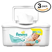 Pampers Baby Wipes Tub, Sensitive - 64 Wipes/Tub (3-Pack/192 Count, Pampers Sensitive)