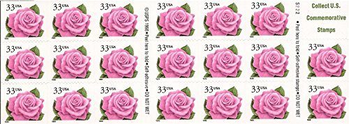 1999 Coral Pink Rose - Booklet Pane of 20 x 32 Cent Stamps Stamps Scott 3052d by USPS ()