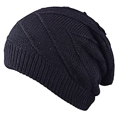 Mens Winter Hats Elastic Knit Caps Slouchy Beanie Hats Warm Skully Cap for Ski