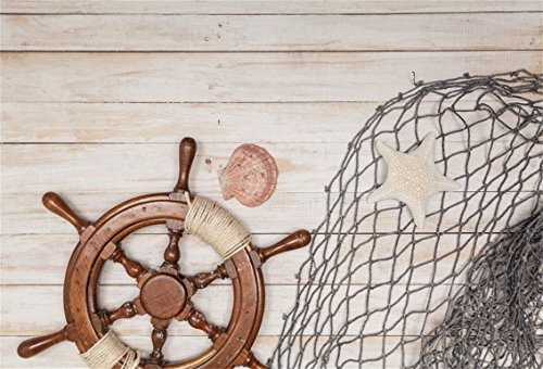CSFOTO 5x3ft Background for Rudder Fishing Nets on Rustic Wood Photography Backdrop Sailing Sea Concept Marine Themed Birthday Party Child Kid Adult Portrait Photo Studio Props Polyester Wallpaper by CSFOTO