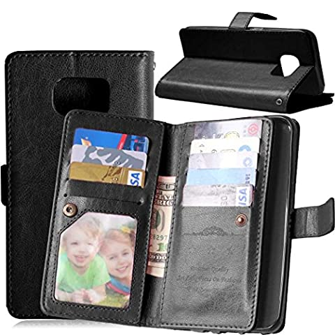 Galaxy S7 Edge Wallet Case, SUMOON Luxury Fashion PU Leather Magnet Wallet Credit Card Holder Flip Case Cover with Built-in 9 Card Slots & Stand For Samsung Galaxy S7 Edge - Crystal Quilted Jacket