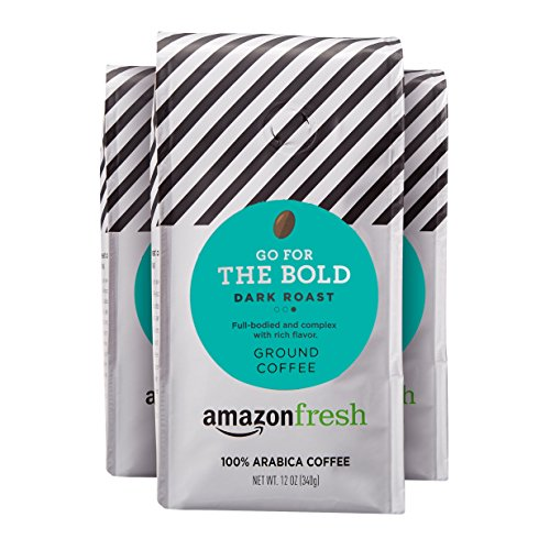 AmazonFresh Go For The Bold Ground Coffee, Dark Roast, 12 Ounce (Pack of 3)