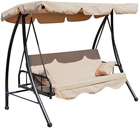 Balancín de jardín convertible en silla o cama de acero de 2 plazas, carga máx.360 kg, color crema 92: Amazon.es: Jardín