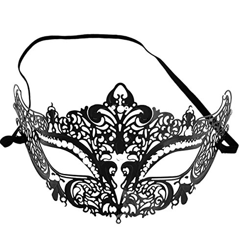[Cozypony Metal Laser Cut Luxury Masquerade Masks with Rhinestones Baron Half Mask for Dance Performance Party, Mardi Gras or Prom Masks (Crown,] (Couples Dance Costumes)