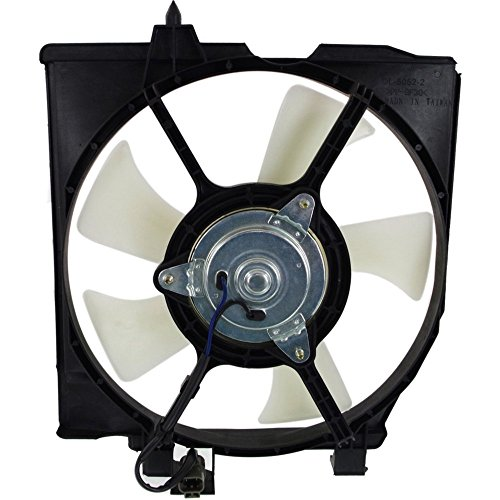 Evan-Fischer EVA648072215304 Direct Fit A/C AC Condenser Fan Cooling Assembly Passenger Right Side Plastic Single Design Includes Blade, Motor, and Shroud -