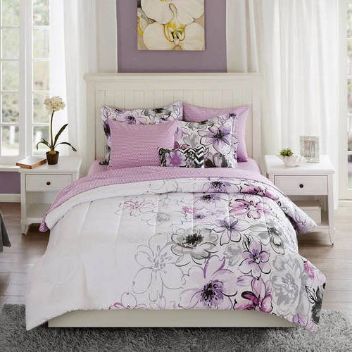Price comparison product image 8 Piece Purple Watercolor Floral Comforter Set Queen With Sheets, Charming Orchid Flower Plants Printed Natural Boho Shabby Chic Grey Lavender Plum Kids Bedding For Bedroom, Polyester