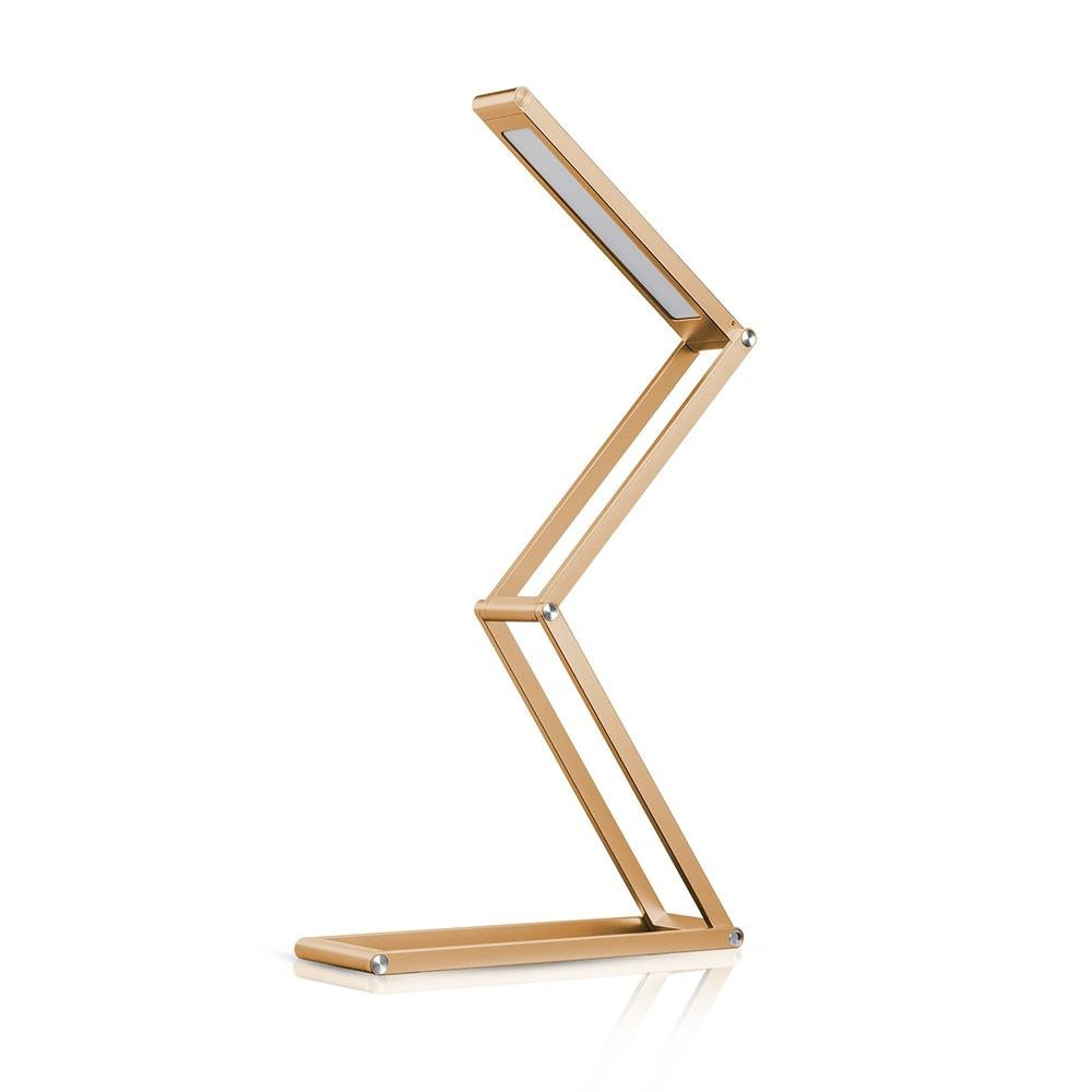 LED Flexible Desk Lamp, Dimmable Gold Reading Lamp USB Rechargeable Aluminum Alloy Table Lamp, Portable Eye-Care Reading Lights Camping Lantern with Wall Mount for Study/Dorm/Office, Back to School