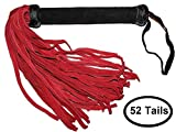Prairie Horse Supply Suede Flogger Whip Crop 18 or 52 Soft Suede Tails, Extra Long Suede Covered Handle Black, Blue, Purple, Red, or Teal