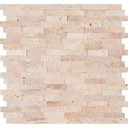Vogue Peel & Stick Ivory Cream Light Travertine Honed and Split Face Mix Brick Pattern Mosaics for Kitchen Backsplashes, Wall Fireplace Tile (1) Stone Tile Fireplace