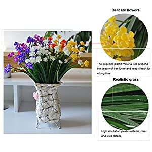 4 Pcs Artificial Fake Flowers Fake Orchid FlowersFaux Plastic Bushes Simulation Greenery Plants for Window Box Home Patio Yard Indoor Garden Light Office Wedding Decor(Vase is not included) 3