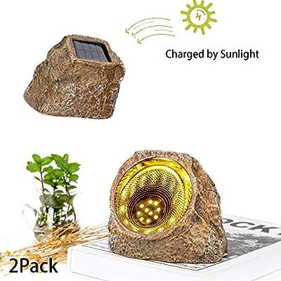 UPSTONE Solar Powered Garden Stone Rock Light, 10 LED Solar Waterproof Outdoor Solar Spotlight Light for Garden, Patio, Backyard Pathway Driveway Landscape Rock(2 Pack)