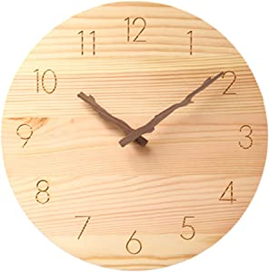 Wood Wall Clock, 10 Inch Silent Non-Ticking Battery Operated Round Wall Clock Whisper Quiet Decorative Wall clock with Branch-Shaped Hands for Living Room Bedroom Kids Room Kitchen Office (10in)