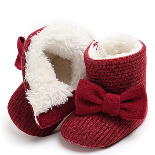 LIVEBOX Newborn Baby Cotton Knit Booties,Premium Soft Sole Bow Anti-Slip Warm Winter Infant Prewalker Toddler Snow Boots Crib Shoes for Girls Boys by LIVEBOX (Image #1)