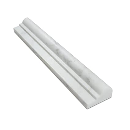 Oriental White (Eastern White) Marble OG 1 Single Step Chair Rail Molding
