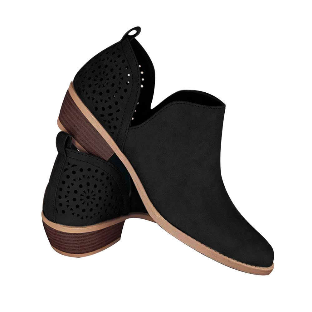 Blivener Womens Casual Slip On Loafer Pointed Toe Cut Out Slip On Office Casual Dressy Ankle Boot