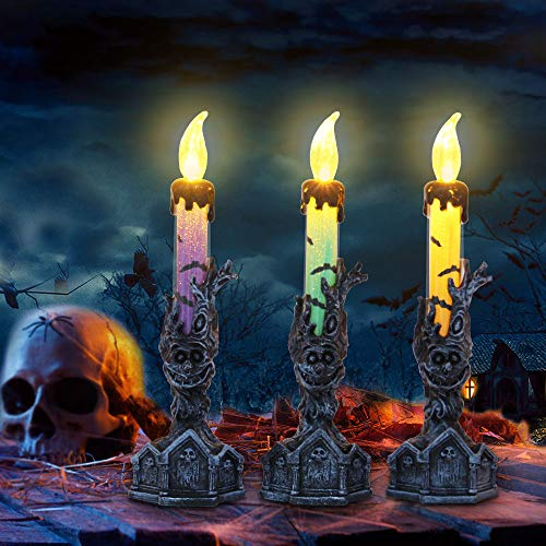 - Halloween Candle Lights RIP Tombstone and Tree Monster Base Holder for Home Fireplace Dining Table Decor Including Button Battery - Pack of 3