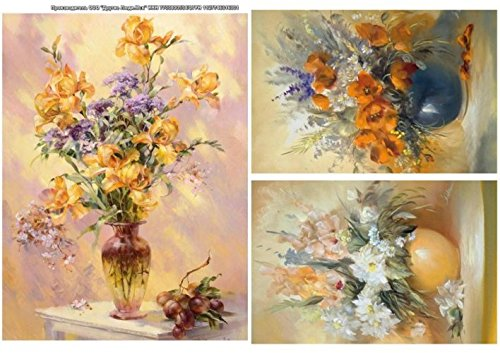 Rice Paper for decoupage. Purple, White, Yellow Flowers in vases. 8,27x11,4 inches. Made in Russia