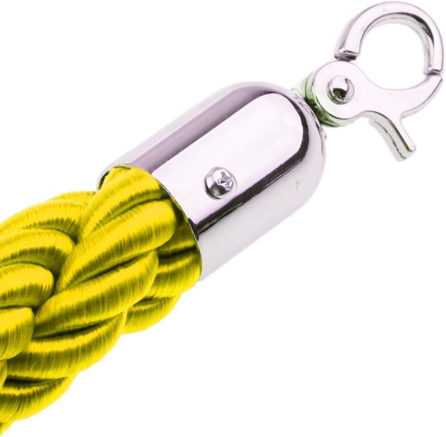 6 Colores Opcionales Amarillo Homyl Cuerda de Barrera de Cola con Ganchos Cord/ón de Nylon para Poste Separador de 1.5 m //
