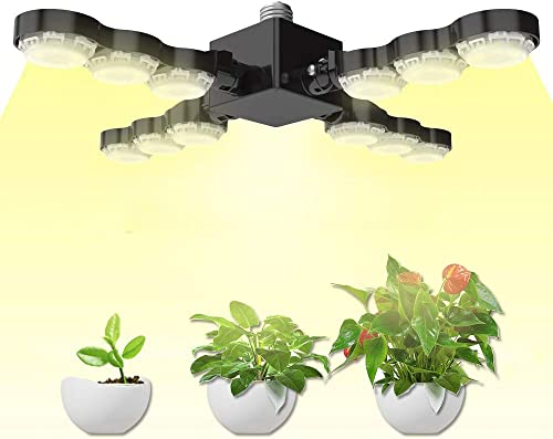 SANSI 60W Daylight Full Spectrum LED Grow Light Bulb, Foldable Sunlike LED Grow Light for Indoor Plants, Plant Light for Hydroponic Greenhouses, Houseplants, Vegetable Tobacco, Sunlight White E26