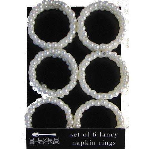 - Set of 6 Round Pearl (Off White) Napkin Rings