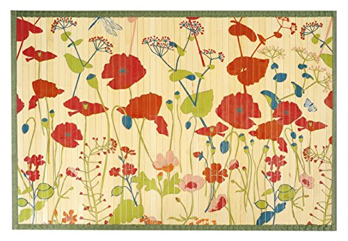 [Kitchen Rugs Area Rugs 2 ft by 3 ft Bamboo for Indoor or Outdoor Patio Rug Red Poppies] (Rectangular Bamboo Area Rugs)