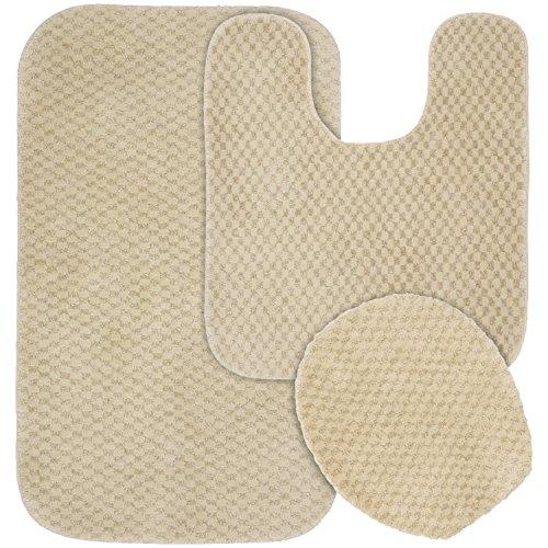 Garland Rug 3-Piece Cabernet Nylon Washable Bathroom Rug Set, (Linen Rug Rug)