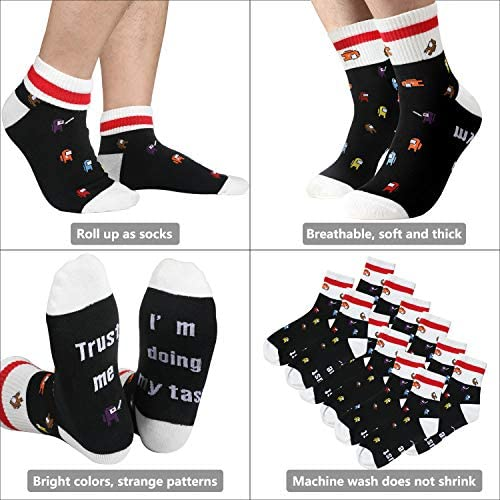 Among Plush Us, Novelty Crazy Funny Among Socks US ,Imposter,1 Amongs us Plushie/1 Adult and Kid Socks/50 Stickers/1 Necklace/1 Pendant/1 Lanyard/1 Hand Ring,As Party Supplies