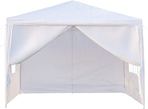 Veryke 10 x 10 ft Outdoor Gazebo Canopy White Waterproof Wedding Canopy Party Tent w/Removable Sidewalls Brighter Church Windows,4 Side