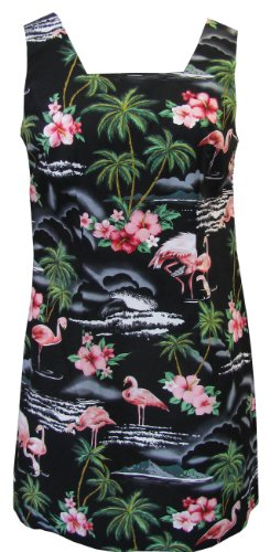 RJC Womens Pink Flamingo Hibiscus A Line Short Tank Dress in Black - XXL by RJC Women