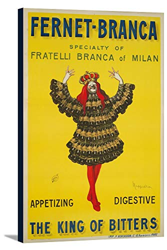 Fernet - Branca - The King of Bitters Vintage Poster (artist: Cappiello, Leonetto) France c. 1909 (11 5/8x18 Gallery Wrapped Stretched Canvas)
