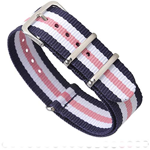 Premium Canvas Fabric Watch Bands Ballistic Nylon Straps Width,Navy/Pink/Ivory,20mm